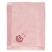 Aria Personalised Baby Blanket - Pink with Owl & Name Embroidery