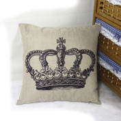DDU(TM) 1Pc Big Crown Print Home Sofa Throw Pillow Cushion Cotton Linen Case Cover Pillowcase