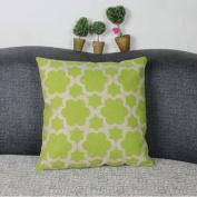 DDU(TM) 1Pc Green Six Petal Flower Cotton Linen Home Sofa Throw Pillow Cushion Case Cover Pillowcase