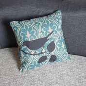 DDU(TM) 1Pc Light Blue Bird Cotton Linen Home Sofa Throw Pillow Cushion Case Cover Pillowcase