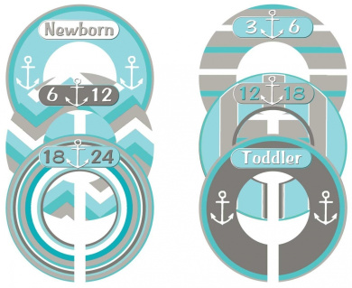 Mumsy Goose Nursery Closet Sizers Baby Boy Nautical
