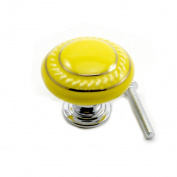 DDU(TM) 1Pc Yellow Ceramic Round Cupboard Wardrobe Door Drawer Knob Pull Handle
