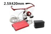 icarekit 2.5X 420mm Red! Dental Surgical Medical Binocular Loupes + LED Head Light Lamp + Carry Bag