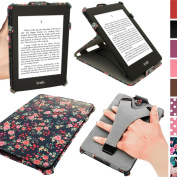 iGadgitz 'Desginer Collection' Pink Rose Floral Pattern PU 'Heat Moulded' Leather Case Cover for Amazon Kindle Paperwhite 2014 2013 2012 With Sleep/Wake Function + Viewing Stand & Integrated Hand Strap