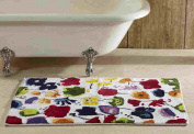 Better Trends/Pan Overseas Picasso Floral 100% Cotton Combed Yarn Tufted Bathmat with Hot Melt Latex Backing, 50cm by 120cm , Multicolor