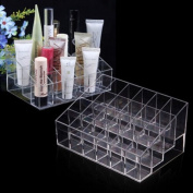 Cosmetic Organiser Clear Acrylic 24 Cosmetic Organiser Makeup Case Holder Display Stand Storage Box