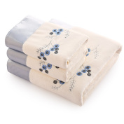 White And Blue 2 Towel And 1 Bath Towel Embroidered Pattern Set