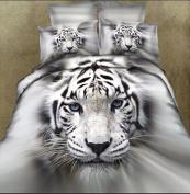King Size 3d Cartoon Bedding Sets Animal White Tiger Head 4pcs Bedding Set King Size Duvet Cover , Bed Sheet , Pillow Case :100% Cotton Christmas Gift,