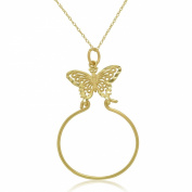 14K Yellow Gold Butterfly Charm Holder Pendant