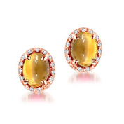 4.20 ctw Cabochon Oval Yellow Citrine & Diamond Stud Style Earring 14K Gold Push Back
