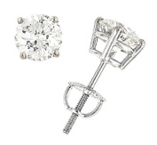 2.06 Carats Total Weight Round Diamond Stud Earrings