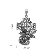 WithLoveSilver Sterling Silver 925 Charm Fairy Angel Rose Flower With Cross Christ Pendant
