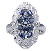 Marquise Sapphire Natural Gemstone Diamond 925 Sterling Silver Jewellery Band Ring