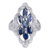 Vintage Sapphire Natural Gemstone 925 Sterling Silver Diamond Jewellery Band Ring