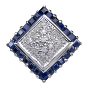 Natural Sapphire Gemstone 925 Sterling Silver Diamond Cluster Jewellery Band Ring