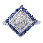Intricate Sapphire Cluster Natural Gemstone Sterling Silver Diamond Jewellery Ring