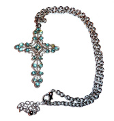 Crystal Cross Necklace BW Blue Ornate Silver Tone Elegant