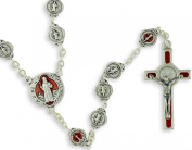 St St. Saint Benedict Red Enamel Accent Image Rosary From Italy Catholic Prayer Beads Crucifix