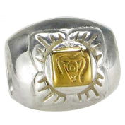 Sterling Silver Muladhara Root Chakra Bracelet Charm Bead with 14k Gold Plating