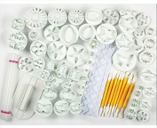 AUCH 21 Sets (68pcs) Spring Fondant Cake Biscuit Sugarcraft Plunger Cutter Craft Mould Tool for Cupcake Decorating