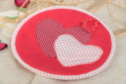 Red Polka Dot Handmade Cotton Fabric Pot Holder with Hearts