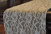 AK-Trading Burlap and Lace Runner, 36cm x 180cm Burlap Runner with 36cm Ivory Lace
