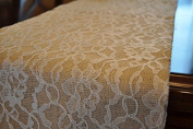 AK-Trading Burlap and Lace Runner, 36cm x 270cm Burlap Runner with 36cm Lace.
