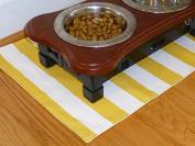 Yellow & White Striped Pet Place Mat