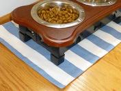 Light Blue & White Striped Pet Place Mat