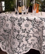 AK-Trading 150cm Round Ivory Floral Lace Crochet Square Tablecloth Overlay Table Cover