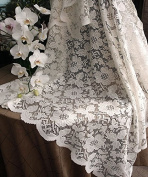 AK-Trading 140cm Ivory Floral Lace Crochet Square Tablecloth Overlay Table Cover
