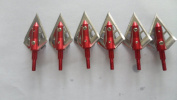 6pcs Red Battleaxe 4-blade Very Sharp Broadheads 100grain for Hunting Shooting