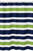 Navy Blue, Lime Green and White Kids Bathroom Fabric Bath Stripes Shower Curtain