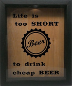 Wooden Shadow Box Wine Cork/Bottle Cap Holder 23cm x 28cm - Life Is Too Short To Drink Cheap Beer With Cap