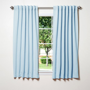Best Home Fashion Thermal Insulated Blackout Curtains - Back Tab/ Rod Pocket - Sky Blue - 130cm W x 160cm L -