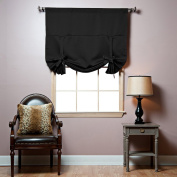 Best Home Fashion Thermal Insulated Blackout Tie-Up Window Shade - Rod Pocket - Black - 110cm W x 160cm L -