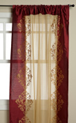 Regal Home Danbury 140cm by 210cm Embroidered Window Panel, Burgundy