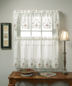 Today's Curtain Sunshine Semi Sheer Reverse 36cm Embroidery Valance, Ecru/Burgundy