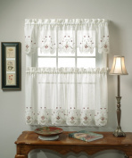 Today's Curtain Sunshine Semi Sheer Reverse 36cm Embroidery Valance, Ecru/Burgundy