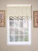 Today's Curtain Gettysburg Knitted 50cm Crochet with Beaded Tassel Valance, Ecru