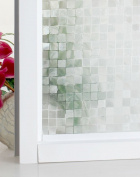 (60cm x 200cm ) DuoFire Decorative Repositionable Stained Non-adhesive Privacy Glass Window Film DL014