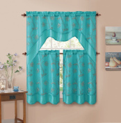 3 Piecen Double Layer Leaf Embroidered Kitchen Window Curtain Set with Valance