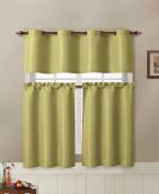 Jacquard Kitchen Window Curtain Set : 2 Rod Pocket Tier Panel Curtain, 1 Valance with Metal Grommet