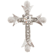 White Cross Crystal Pin Brooch And Pendant