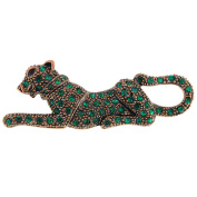 Vintage Style Emerald Green Panther Crystal Pin Brooch