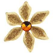 Golden Flower Crystal Pin Brooch