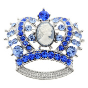Sapphire Blue Cameo Crown Crystal Pin Brooch