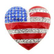 American Flag Patriotic Heart Pin Brooch