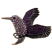 Purple Amethyst Hummingbird Crystal Pin Brooch