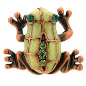 Green Frog . Crystal Lapel Pin